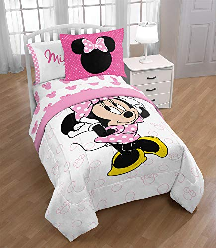 Jay Franco Disney Minnie Mouse XOXO Twin Comforter - Super Soft Kids Reversible Bedding Includes Bonus Sham - Fade Resistant Polyester Microfiber Fill (Official Disney Product)