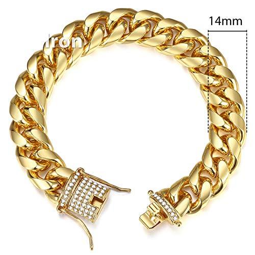 GAJSDJHN Bracelets 14Mm Men's Bracelet Iced Out Cz Gold Miami Curb Cuban Link Chain Bracelets 2018 Fashion Hip Hop Male Jewelry Dropshipping Kgb451 ()