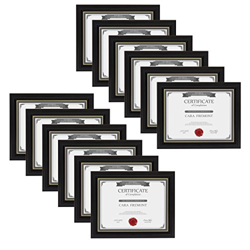 DesignOvation Jordan Document Frame Made to Display Certificates, Black 8.5x11, Pack of 12