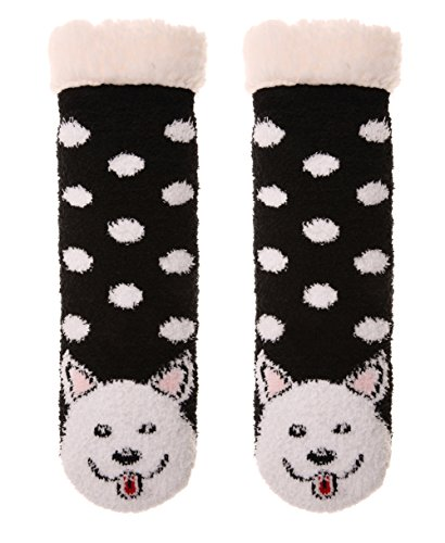 Womens Original Fuzzy Faux Fur Animal Socks with Grippers