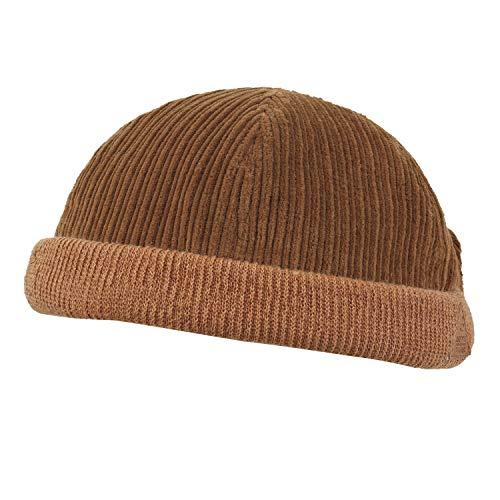 ililily Solid Color Corduroy Crown Short Beanie Strap Dome Hat Soft Cap, Orange Brown