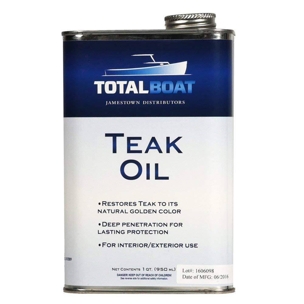 TotalBoat Teak Oil - Premium Marine Wood Sealer Protects & Preserves Teak on Boats and Outdoor Furniture (1 Quart)