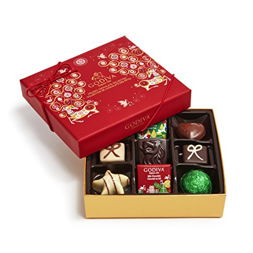 Godiva Chocolatier Assorted Chocolate Christmas Holiday Gift Box, 9 Piece