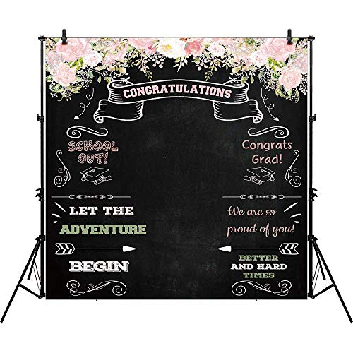 Allenjoy 8x8ft Congratulate Graduation Backdrop Class of Congrats Grad Floral Chalkboard for College Prom Pictures Candy Table Dessert Party Ceremony Decor Banner Event Photo Booth Shoot Background ()