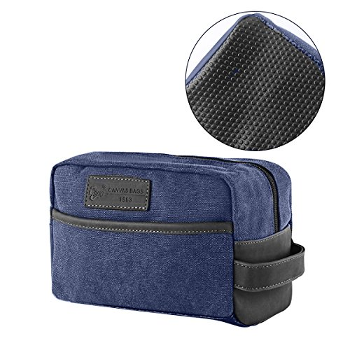 Mens Toiletry Bag Vintage Canvas Wash Shower Organizer Waterproof Shaving Kit  Travel Bag Portable Dopp Kit(Navy Blue) 5375d37a7ad90