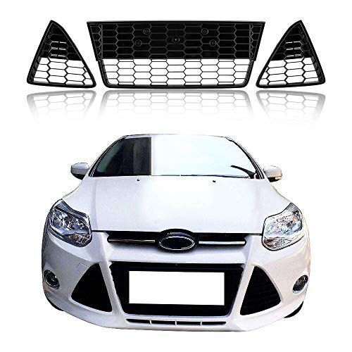Honeycombed Front Bumper Lower Grille Gloss Black Grills With Triangle Grill Cover Generic For Ford Focus 2012 2013 2014 (3pcs)