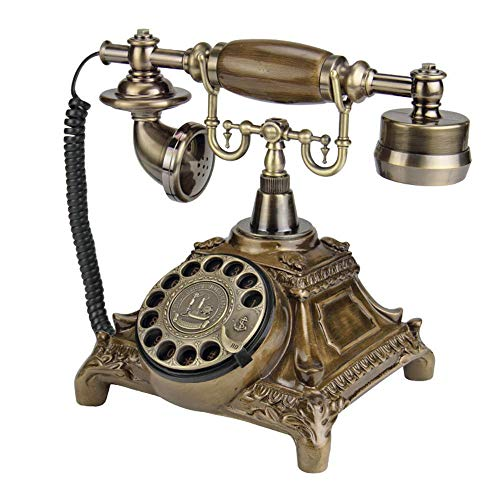 QQDIANHUA Retro Vintage Antique Style Phone Rotary Dial Landline Phone Metal Bell Hands Free and Redial for Office Home Living Room Cafe Bar Window Decoration Home Decor Wonderful Gift