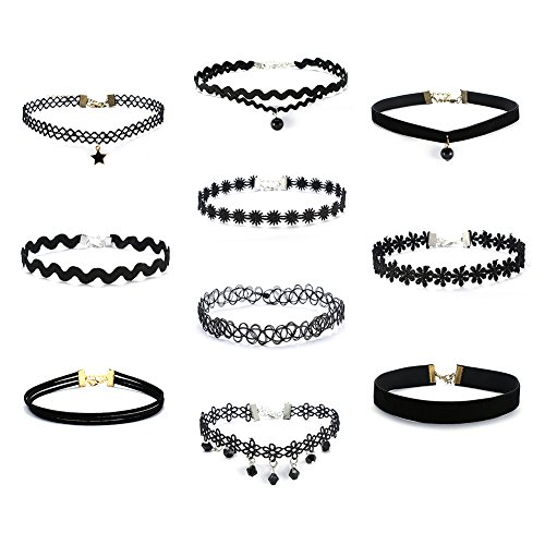 Silver Surfer Costume Ideas (DESCHMUCK Choker Necklaces for Women Girls Gothic Tassel Velvet Tattoo Choker Collar Lace Vintage Adjustable Necklace 4 8 10 PCS Black)