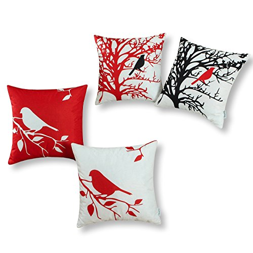 Set of 4, CaliTime Soft Canvas Throw Pillow Covers Cases for Couch Sofa Home Decor, Shadow Bird Tree Branches Silhouette, 20 X 20 Inches, Red