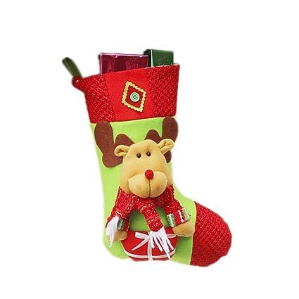 iStary 2018 Decoraciones De Navidad De Santa Claus Muñeco De Nieve Calcetines Colgante De Papá Noel