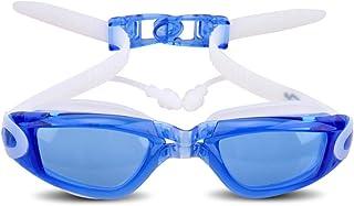 CDKJ Occhialini Nuoto 1 pz Occhialini da Nuoto Attached Bicchieri Tappi per Le Orecchie Anti-Nebbia d'Acqua e Raggi ultravioletti occhialini da Nuoto per Adulti e Giovani (Blu)