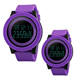 Unique Cool Outdoor Sport Digital Couple Watch All Purple Soft Band Led Alarm(Two Pieces One Pack)
