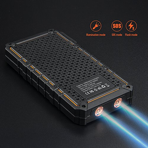 15000mAh convenient Solar Charger Elzle Solar energy Bank dual USB Backup Battery Pack ChargerOutdoor Solar External Battery Charger with the help of 2 Led Flashlight For iPhone Series smart phone more Solar Chargers
