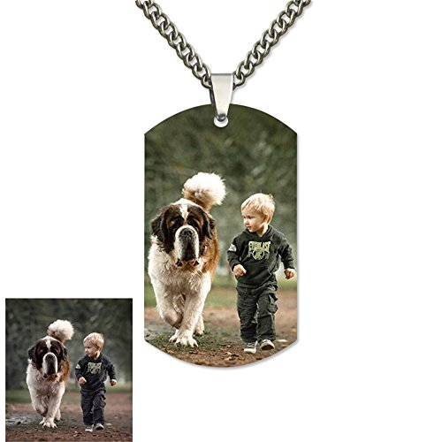 XXI0c2sd2s Personalized Photo Engraved Stainless Steel Necklace Tags Dog Tag Pendant Memorial Father's Day (Pendant Color Photo Dog Tag)