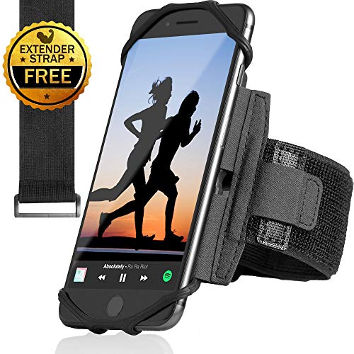 Sports Running Armband for All Phones: iPhone X XR XS Max 8 Plus 7 Plus 6, Samsung Galaxy A8 S9 S8 S6 Edge, LG, HTC, Pixel; 180° Rotatable Cell Phone Holder for Men & Women + Free Extender Strap