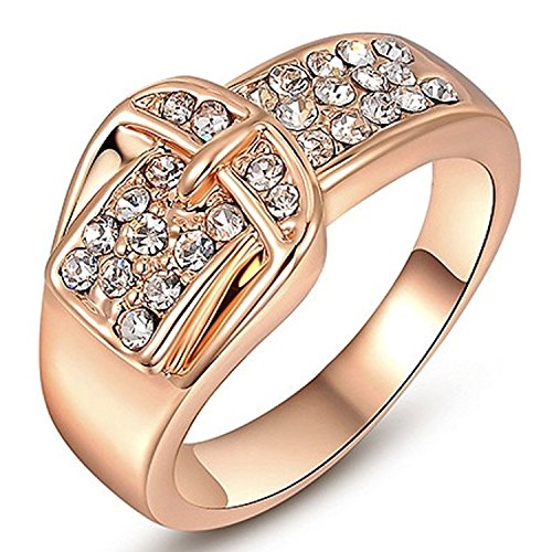 "Gieschen Jewelers ""Pave Belt"" 18K Rose Gold-Plated CZ Crystal Ring, Size 4"