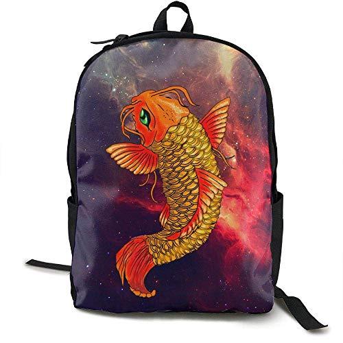 Men Black Lightweight Fashion Canvas Carp Fish amp; For Travel Traditional Asian Dewdferf Backpack Women 6wTA7BZ