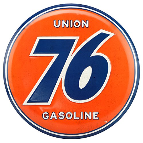 Gasoline Vintage Sign - Open Road Brands Vintage Retro Metal Tin Signs - Embossed Union 76 Gasoline Button Sign - for Garage Decor, Man Caves, Gas Stations, and Home Decor