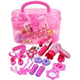 Smibie Little Girls Pretend Play Beauty Makeup Kit DIY Plastic Play Set Toy with Storage Box
