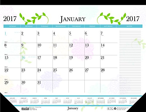House of Doolittle 2017 Monthly Desk Pad Calendar, Earthscapes Whimsical Floral, 22 x 17