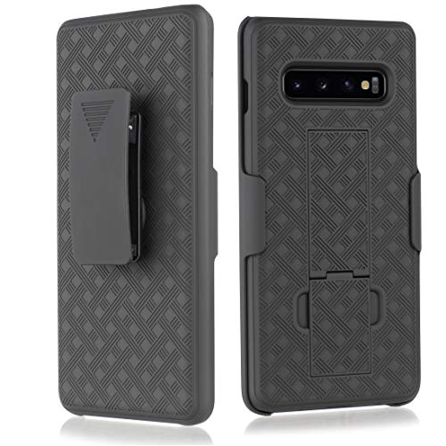 (Compatible for Samsung Galaxy S10 Case, Belt Clip Case - Slim Fit Holster Shell Combo w/Rubberized Grip [Screen Protector])