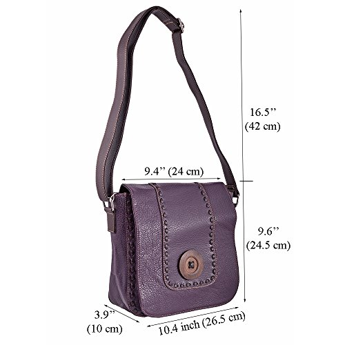 Bags Body Flap Handbag Celeb Style Bag Nice Bag Over 431 Cross LeahWard PURPLE Ladies Shoulder Button Women's wIqM4Bp