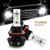 QUAKEWORLD 6500K 8000LM H13 9008 PHILIPS Chip Led Headlight Bulbs Head Lamp High/Low Beam Conversion Kit HID or Halogen Headlight Replacement for Ford F150 F250 Focus Pontiac Solstice Cruze Dodge