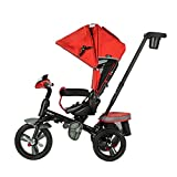 Evezo 302A 4-in-1 Parent Push Tricycle for Kids, Stroller Trike Convertible, Swivel Seat, Reclining Seat, 5-Point Safety Harness, Full Canopy, LED Headlight, Storage Bin (Crimson Red)