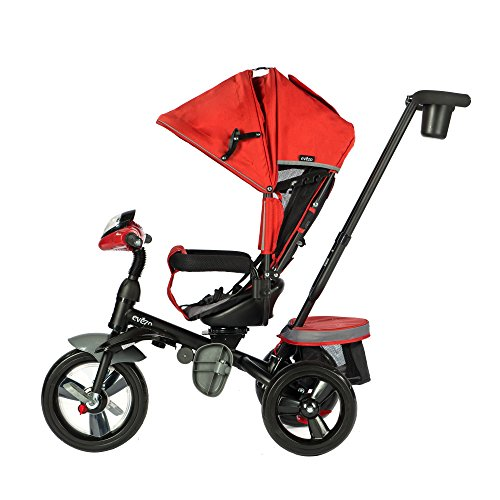 Push Points (Evezo 302A 4-in-1 Parent Push Tricycle for Kids, Stroller Trike Convertible, Swivel Seat, Reclining Seat, 5-Point Safety Harness, Full Canopy, LED Headlight, Storage Bin (Crimson Red))