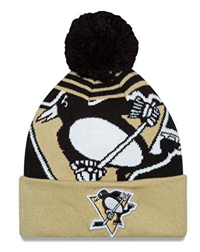 Pittsburgh Penguins New Era NHL Logo Whiz Cuffed Knit Hat with Pom (Beanie Penguins New Era)