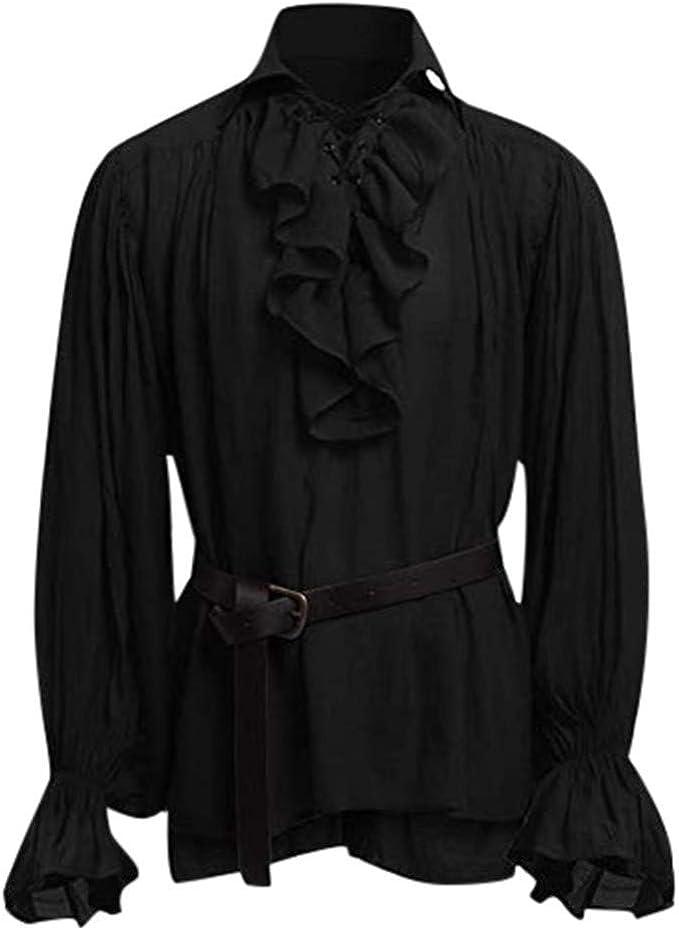 Luckycat Camisa Escocesa de Hombre Medieval Manga Larga Disfraz ...
