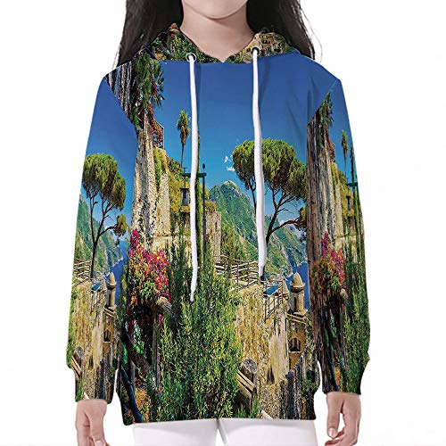 iPrint Baby SweatshirtPullover Hooded,Scenery Decor,Mediterranean Cute Stone Made Villa