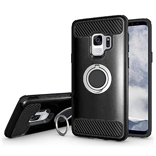 Samsung Galaxy S9 Phone Case with Grip Ring and Carbon Fiber Trim, Enhanced Hand-Grip Shock Absorbing TPU + PC Bumper Cushion Frame Hybrid S9 Cover for Samsung Galaxy 2018, by ()