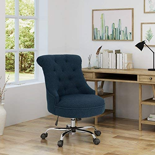 Christopher Knight Home Tyesha Desk Chair, Navy Blue Chrome