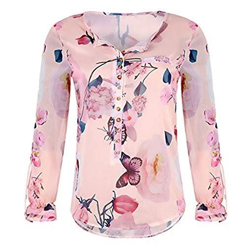 Xinantime Women's Long Sleeve Tops, Womens Casual Floral Printed Button T-Shirt Chiffon Irregular Hem Top Blouse Orange