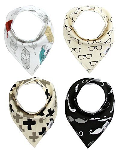 Matimati Baby Bandana Drool Bibs with Snaps, 4-Pack Absorbent Cotton for Boys & Girls, Unisex Baby Gift (Glasses & Feathers)
