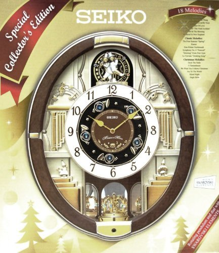 Seiko Eighteen Melodies Special Collector's Edition Swarovski Crystal Musical Wall Clock