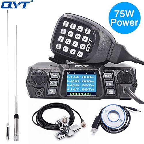 Power Mobile Radio 75W(VHF)/ 55W(UHF) Vehicle Transceiver Dual band Quad Standby+Programming Cable with CD+Antenna + Car Clip RB-400 + 5m Cable ()