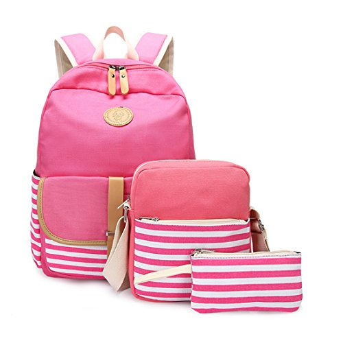 Debbieicy Cute Canvas 3ps Backpack Shoulder Bag Clutch Bag School bags Set for Teens Color Stripe-Pink Pink School Stripe