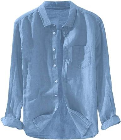 Hombre de Camisa fácil de Planchar de Slim Fit para Traje, Business, Bodas, Tiempo Libre – Manga Larga Camisas para Hombres Camisa de Manga LargaAzulM: Amazon.es: Ropa y accesorios