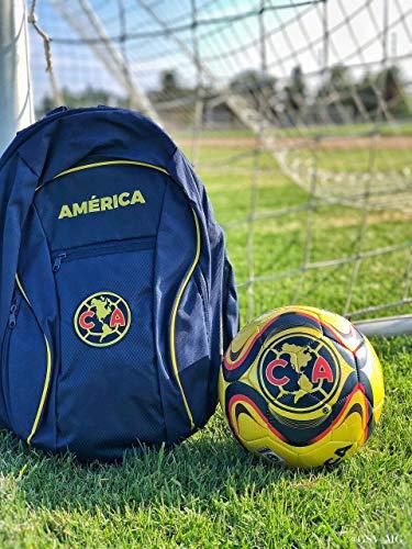 Club America Soccer Backpack and Liga MX America Soccer Ball Size 5 Gift Set Bundle Official Licensed Soccer Bag with Ball Holder