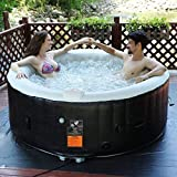 Goplus 4-6 Person Outdoor Spa Inflatable Hot Tub for Portable Jets Bubble Massage Relaxing w/Accessories Set (4-Person, Black)