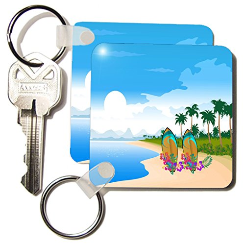 3dRose Image of Palm Tree Island with Hawaiian Flower Surf Boards Key Chains, Set of 2 (kc_174507_1)