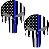 Reflective Punisher Skull 5.5 x 4.1 inch & US flag Decals with Thin Blue Line for Cars & Trucks - American USA Flag Decal Sticker Honoring Police Law Enforcement Window Bumper Vinyl Stickers (2-PACK)