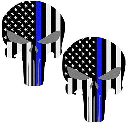 Reflective Punisher Skull 5.5 x 4.1 inch & US flag Decals with Thin Blue Line for Cars & Trucks, American USA Flag Decal Sticker Honoring Police Law Enforcement Window Bumper Vinyl Stickers (2-PACK)