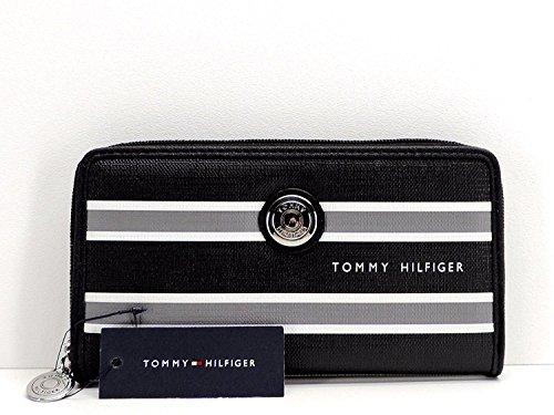 Tommy Hilfiger Zip Around Wallet Black Grey Signature Logo S