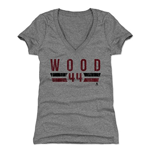 500 LEVEL's Miles Wood Women's V-Neck Shirt Medium Tri Gray - New Jersey Hockey Fan Apparel - Miles Wood New Jersey Font R