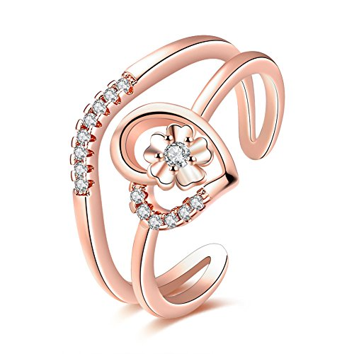[YEAHJOY Women's Resizable Heart Inlaid Flower Finger Rings with Micro CZ Stones Paved Adjustable Size Rings (rose-gold-plated-base)] (Mosaic Heart Ring)