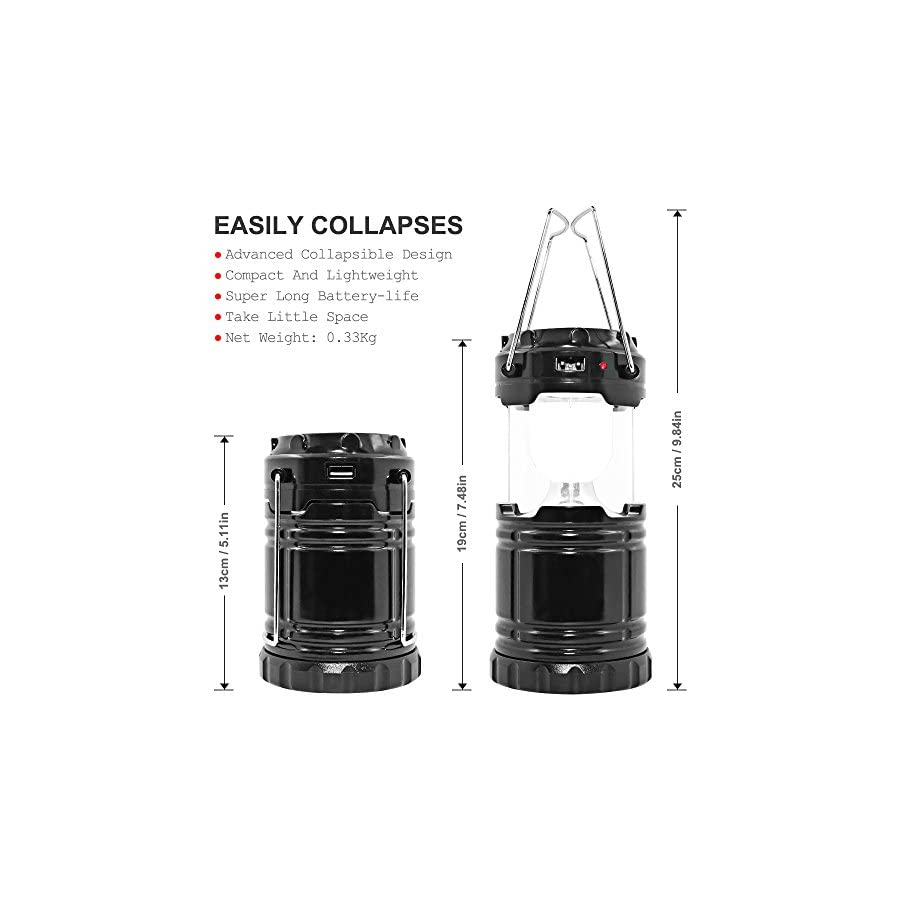 maxin Ultra Bright Camping Lantern with Rechargeable Batteries, Water Resistant Portable LED Solar Collapsible Camping Lantern Flashlights Torch for Outdoor