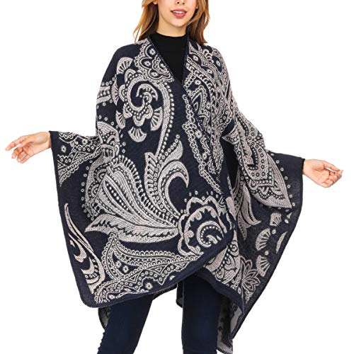 DoFiyeng Women Poncho Shawl Poncho Cape Cardigan Open Front Elegant Cape Wrap Shawl Wrap(White black pattern)